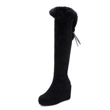 Gdgydh büyük boy gerçek kürk botları kadın siyah kadın diz çizmeler üzerinde uzun yüksek topuk kadın kış ayakkabı 2019 yeni kış kama(China)