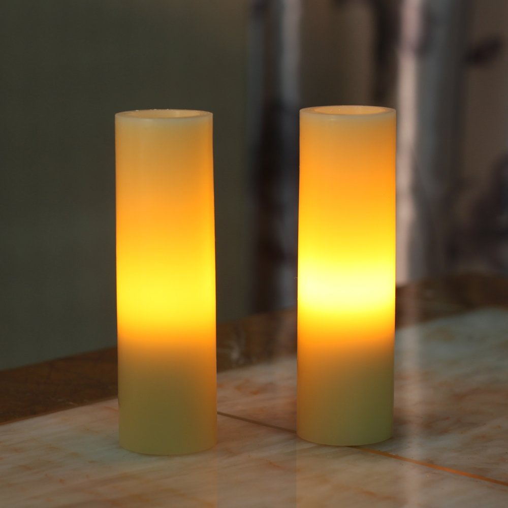 2*6 Inch Smooth Flameless Real Wax Votive Led Pillar Candle,work with 2 AA battery, pack of 2(China (Mainland))