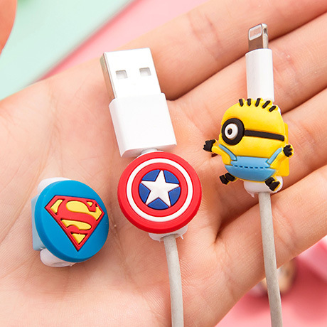10pcs/lot Cartoon USB Cable Earphone Protector headphones line saver For Mobile phone charging line data cable protection(China (Mainland))
