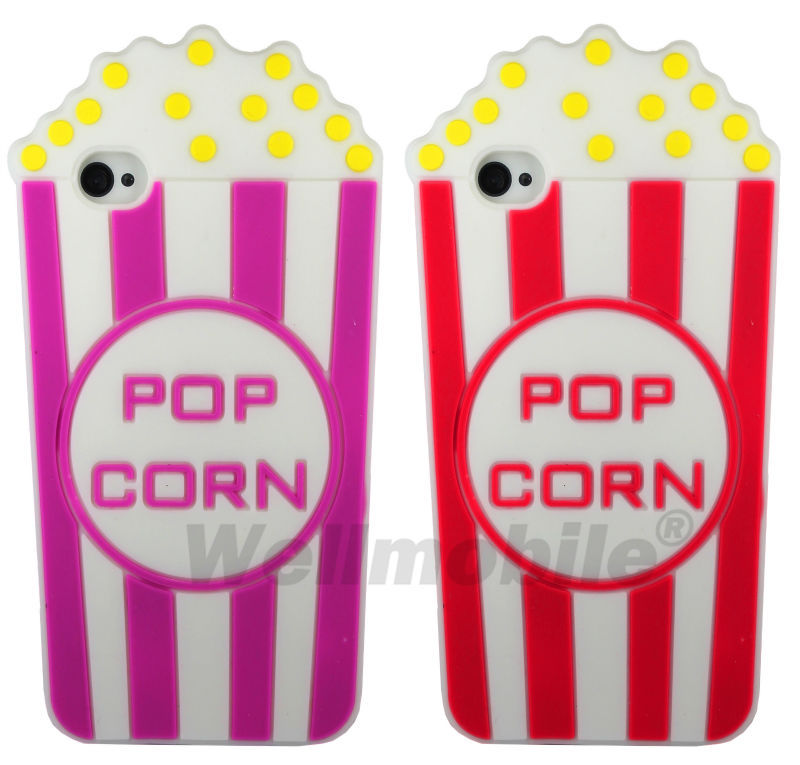 Wellmobile 3D Pop Corn Rainbow Silicone Back Cover Skin Bag Case For Apple iPhone 4 4s 5 5s(China (Mainland))