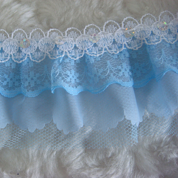 1yard 5cm 4-layer Pleated Trim Gathered Mesh Lace DIY Sewing Sequin Blue Trim 1538 NEW(China (Mainland))