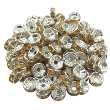 New 5AAA Quality 50 piece lot Cheap Handmade Rhinestone Loose Crystal Silver Plated Rondelle Spacer Beads