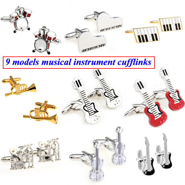 Fashion Drum Set Piano Guitar Violin Musical Instrument Cufflink Cuff Link 1 Pair Free Shipping Biggest Promotion(China (Mainland))