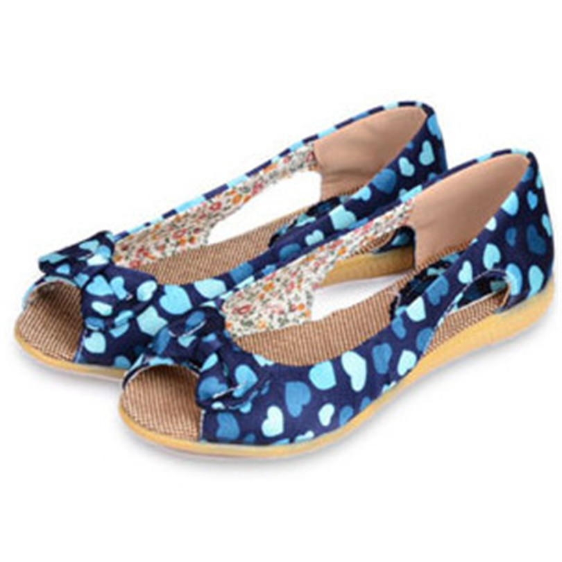 ENMAYER  2015 Summer ladies flat shoes Round Toe Slip-On flats shoes Heart-Shaped Bowtie women flats Casual Pure Cotton <br><br>Aliexpress