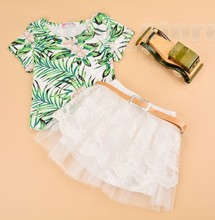 New Kids Girl Wear Casual Two Pieces T Shirt Tops and Lace Skirt Set