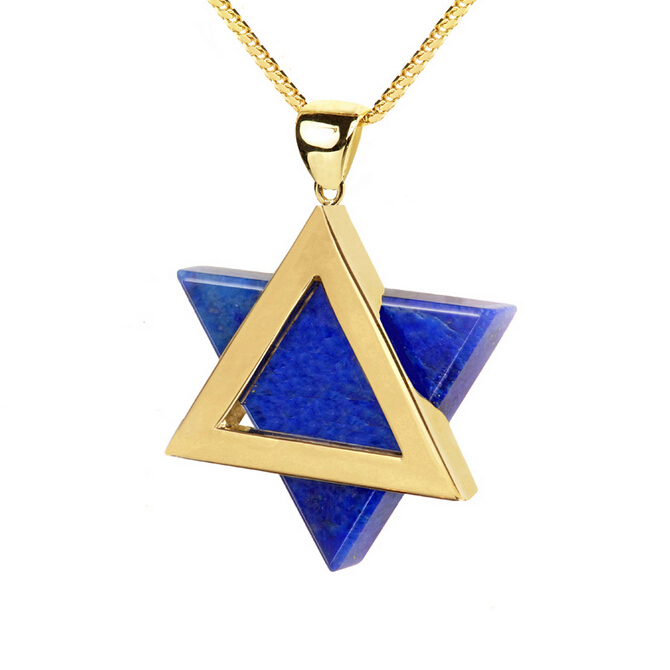 Blue rose gold star of david necklace pendants magen david for Star of david jewelry wholesale