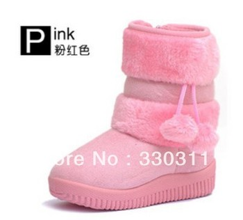 Girls Snow Boots Thicken Winter Children Shoes For 3-11 yrs Kids 2012 New Style 5 colour