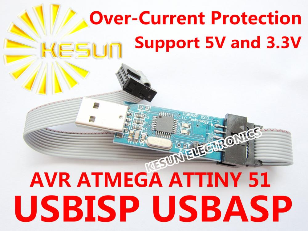 Free Shipping 5PCS USB ISP Programmer for ATMEL AVR ATMega ATTiny 51 AVR Board ISP Downloader USBASP(China (Mainland))