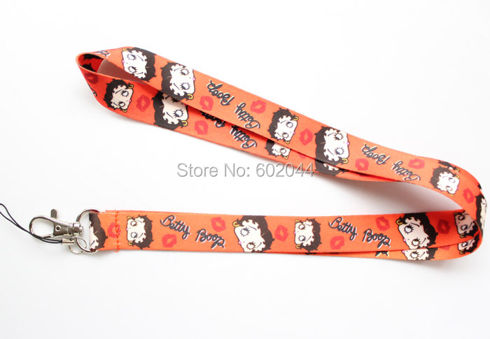 Free shipping 50pcs cartoon betty boop Cell Phone Neck Strap orange Lanyard Charms Party Gift wholesale(China (Mainland))
