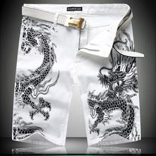 2016 New Designer Dragon Printed Jeans Men Summer Style Mens Short Pants Brand Denim Pants High Quality Casual Mens Short