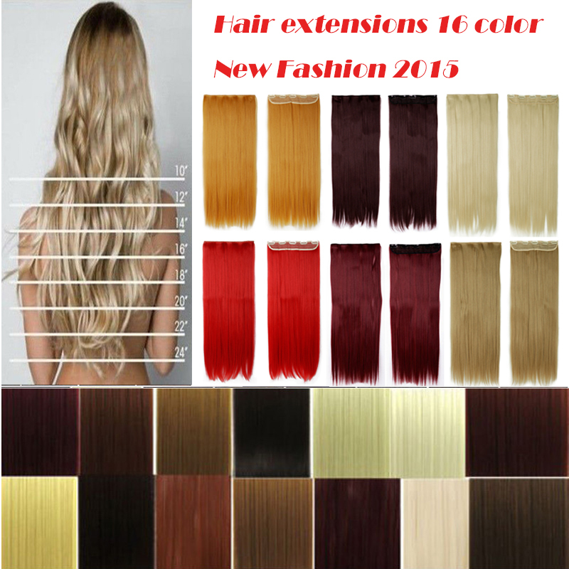 New Fashion 5 clip in 3/4 full head clip in hair extensions 18Color black brown blonde auburn red pink purple 3-5 day delivery <br><br>Aliexpress