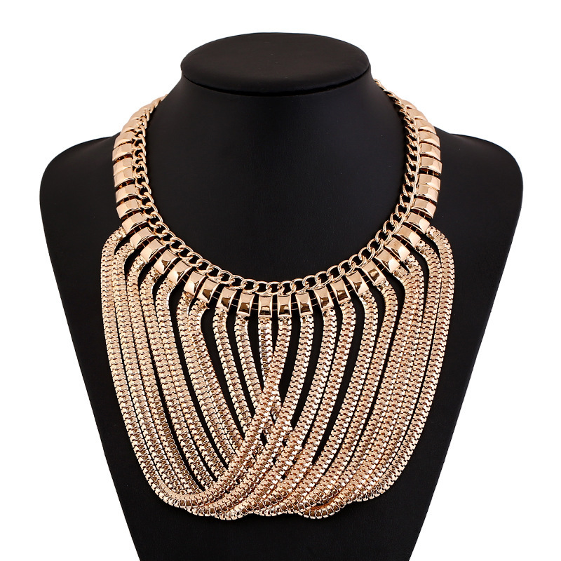 Ladies Neck Fit Collar Necklace 2015 Women Long Alloy Chains Tassels Necklaces & Pendants Statement Jewelry Fashion Accessories (China (Mainland))