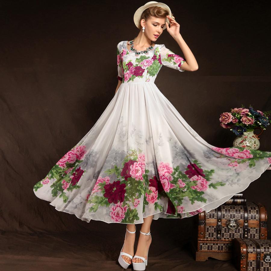 2015 new women's chiffon short sleeve plus size full maxi flowers print vintage beach novelty party casual slim dress patterns(China (Mainland))