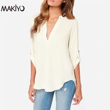 Fashion Women Deep V neck 3/4 Sleeve Chiffon Shirt /Blouse Apricot Women Tops Free Shipping Y60*E3511#S7(China (Mainland))