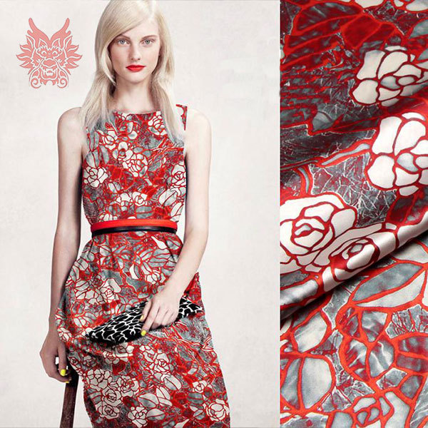 2015New luxury red floral digital print spandex/silk fabric for dress,shirt,heavy charmeuse silk yarn19mm free shipping SP1316