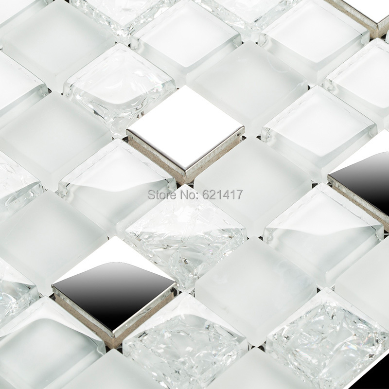 square white and clear ice crackle glass mixed stainless steel metal mosaic tiles kitchen backsplash mosaic bathroom shower <br><br>Aliexpress