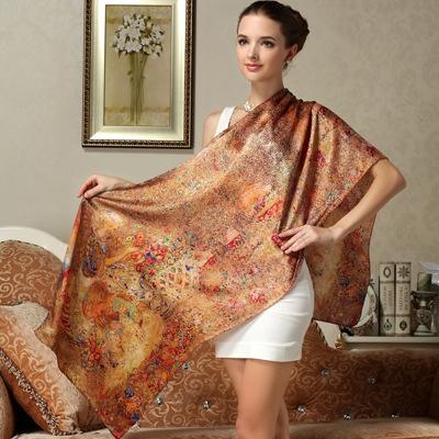 2015 New 100% silk scarves floral printed long silk scarf women fashion long pashmina silk scarf shawls FS002(China (Mainland))