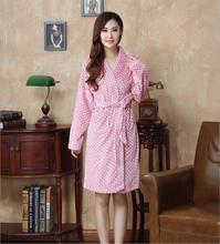 Sexy Coral Fleece Robe Lovers Sleepwear Polka Dot Flannel Bathrobes Robes Male Men Women Bathrobes Female Thickening Bathrobes(China (Mainland))