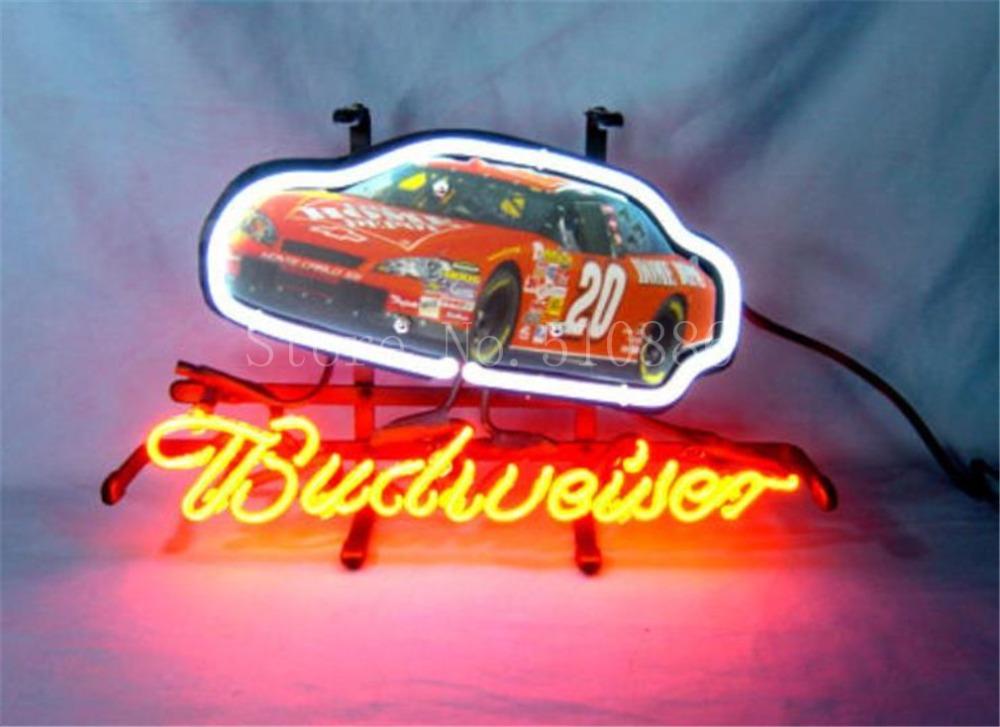 "NEON SIGN For Budweiser Autographed Nascar #20 Racing Car GLASS Tube BEER BAR PUB Decorative Custom Led Light Signs 17*14""(China (Mainland))"