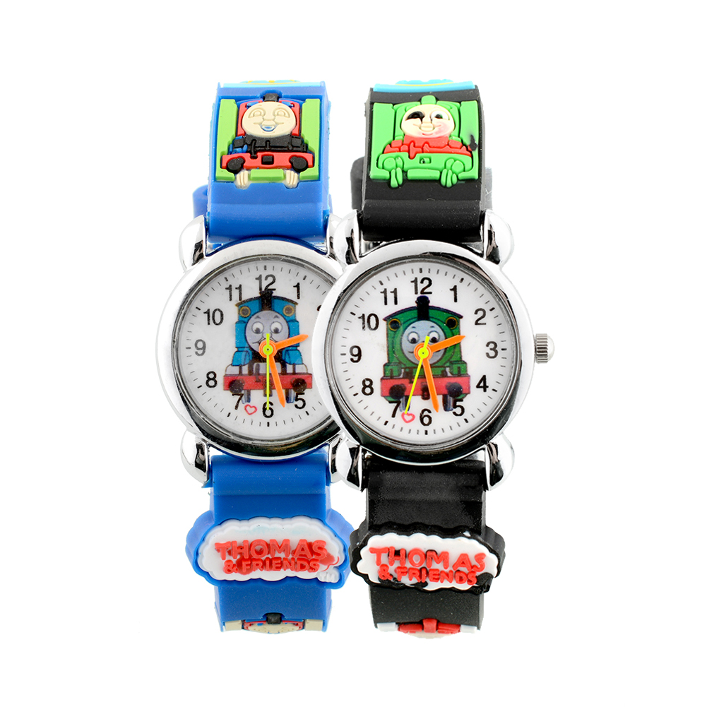 3D Cartoon Cute Train Children Black Band Kids Cartoon Quartz Watch Christmas Boy/Girl Birthday Xmas(China (Mainland))