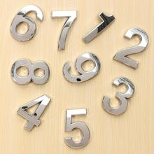 2015 New Silver House Hotel Door Address Plaque Number Digits Sticker Plate Sign Size 50x30x6mm Convinient Room Gate Number(China (Mainland))