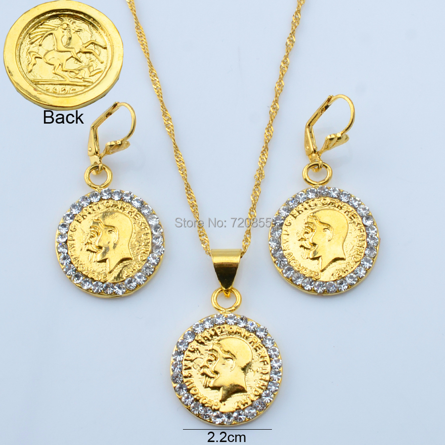 metal coin set jewelry 18k gold plated jewelry for