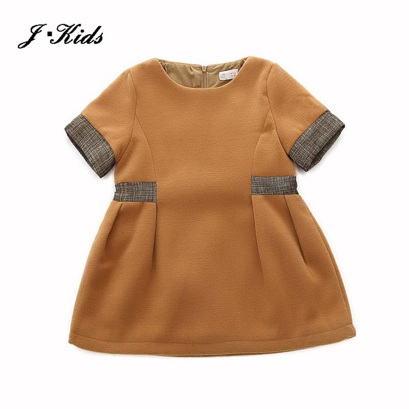 2-9T kids wool dress 2016 autumn winter spring formal dresses girls short sleeve jumper dress wool patch linen children clothes(China (Mainland))
