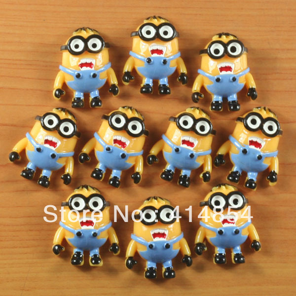 Wholesale 50pcs Despicable Me Minion w/ Glasses Resin Cabochon Flatbacks Flat Back Scrapbooking Hair Bow Center Crafts Making
