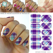 Modern Purple White Tartan Water Transfer Design Nails Stickers Manicure Styling Tools Water Film Paper Decals