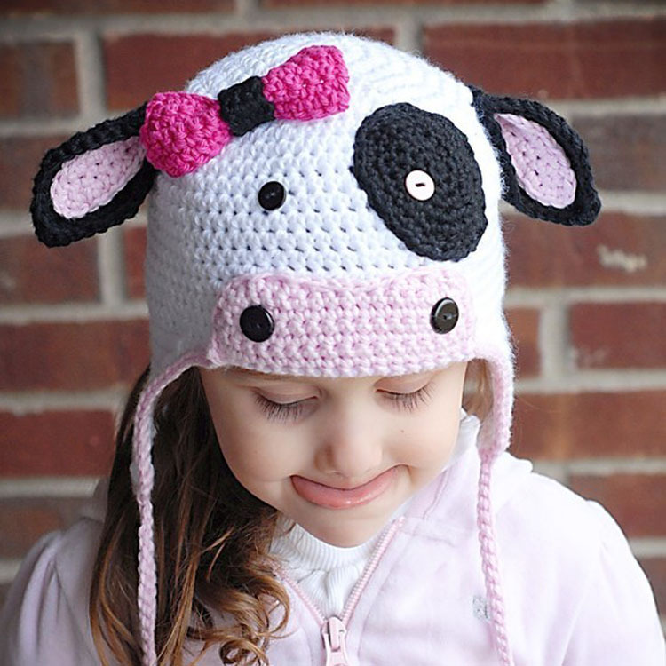 Lovely Milk Cow Baby Hat Knitted Crochet Children Kids Winter Beanies Crochet Infant Photo Prop 1pc Free Shipping MZS-14128(China (Mainland))
