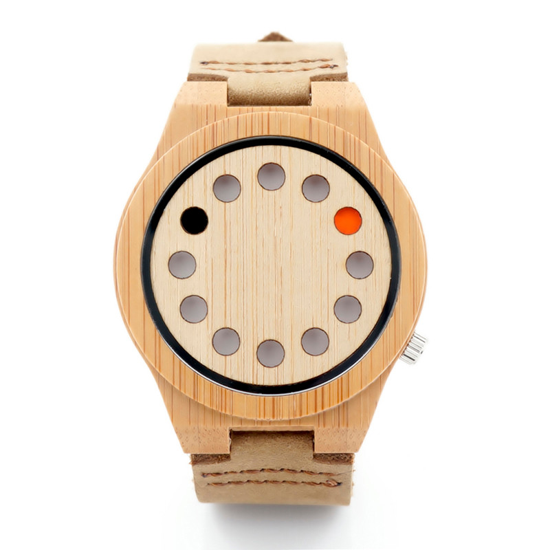 BOBO BIRD 12holes Dial Design Natural Bamboo Wooden Watch Genuine Brown Leather Strap Japanese Quartz Movement Casual Watch D08