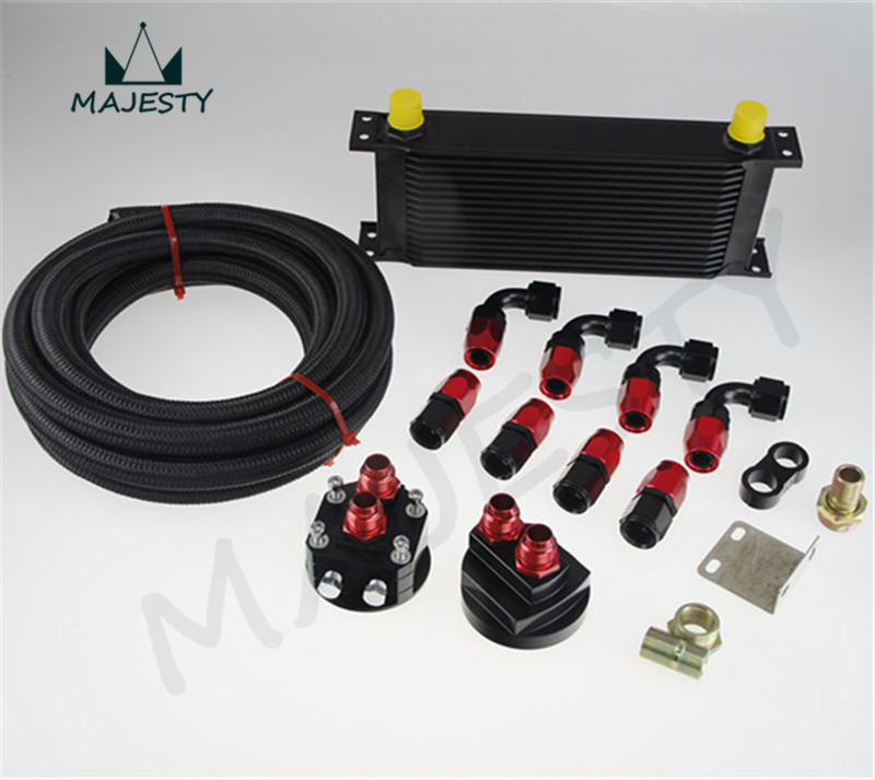 Фотография 16 ROW UNIVERSAL ENGINE OIL COOLER + FILTER RELOCATION + 5M AN10 OIL LINE KIT black/red hose end