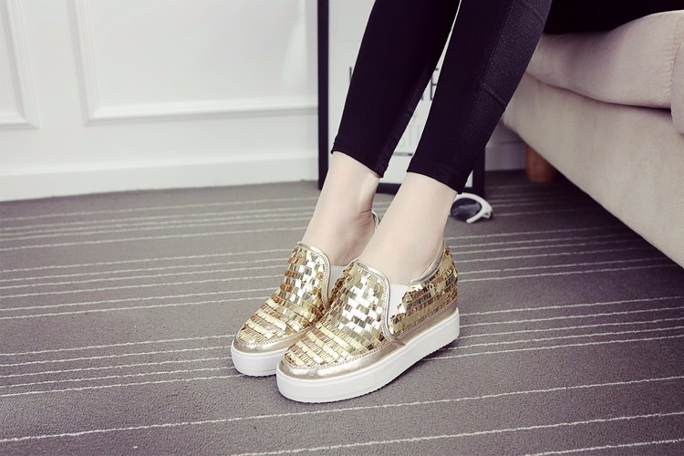 2016 New Spring Fall Fashion Flat Women Loafers Shoes Platform A Pedal Lazy Sequins Female Single Shoes Black Gold Red Sliver3.0