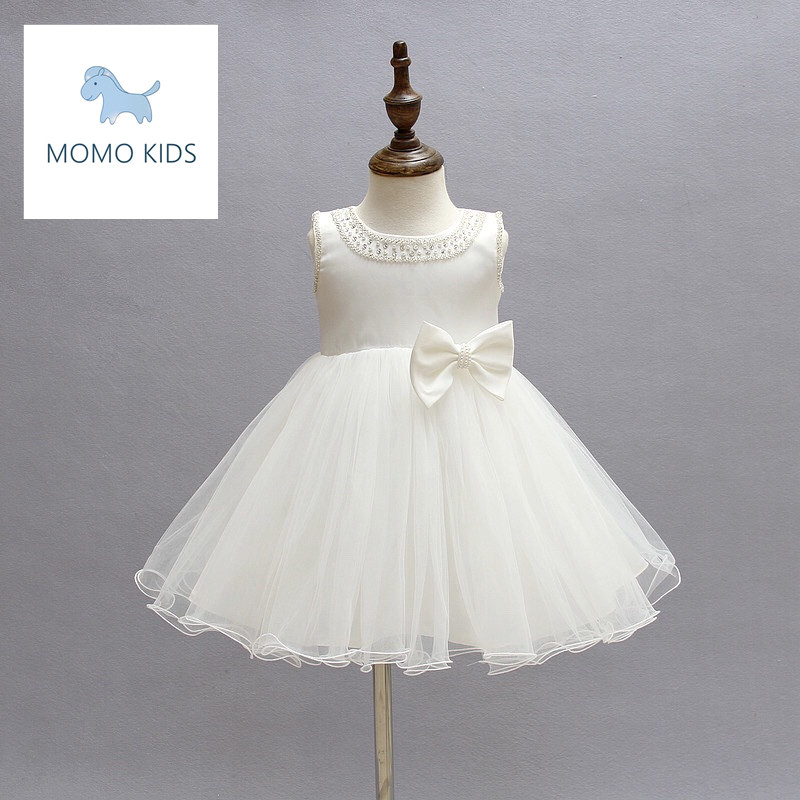 2016 Girls Dresses Children Princess Flower White Girl Dress Kids Wedding Party Christening Gown Baptism Pageant Baby Gril