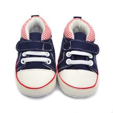 0-18M Baby Boys Soft Sole Shoes Anti-Slip First Walker Baby Canvas Striped Sneaker 4558