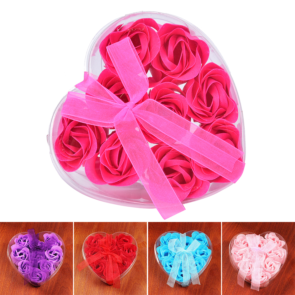 5 Color Scented Bath Body Rose Soap Romantic Wedding Favor Shower Home Party Christmas Birthday Valentine's Day Gifts 9 Pcs(China (Mainland))