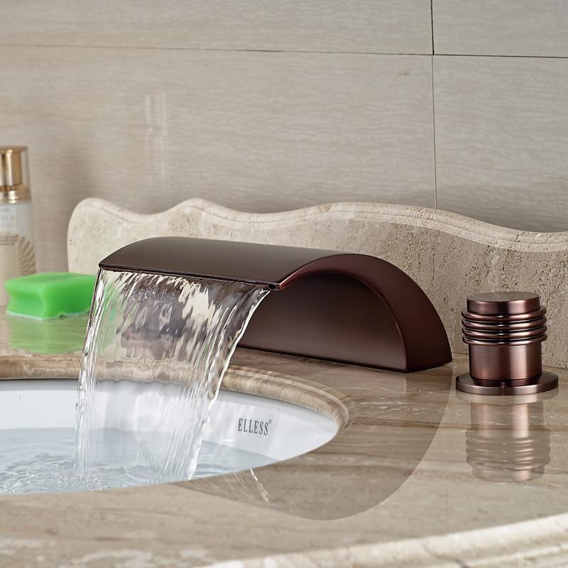 Купить Роскошные Широкое 3 Отверстия Ванная Комната Водопад Бассейне Кран Двойной Ручки Масло Втирают Бронзовый Готовые