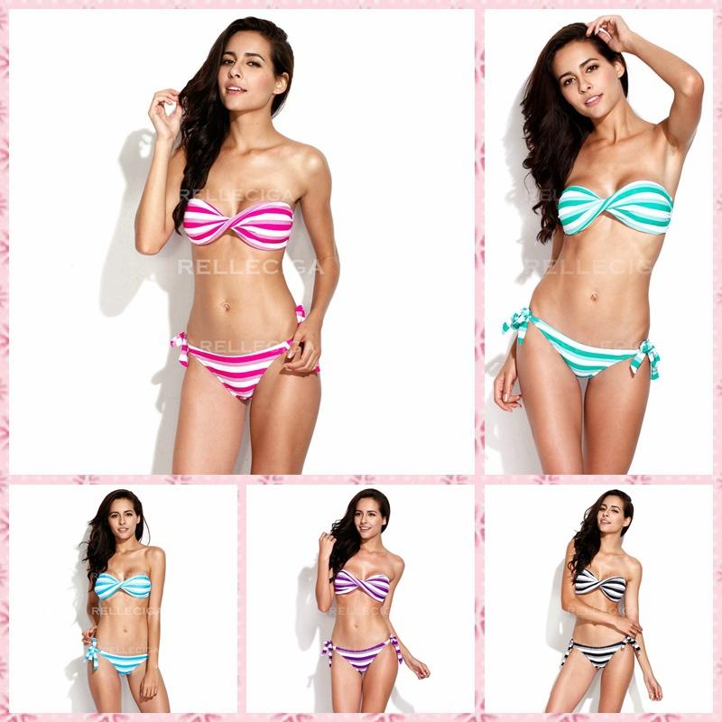 RELLECIGA Two Tone Stripe Print Strapless Twist Bandeau Top Bikini Set Women Sexy Padded Bikini 2015 Swimwear Striped Swimsuit(China (Mainland))