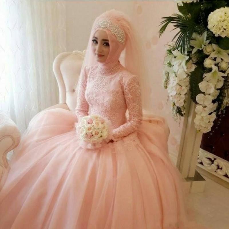 Мусульманские Весь Бальное платье 2016 Новый Розовый Аппликация Кружева Тюль Свадебное Платье свадебные платья noiva Свадебные Платья Свадебные платья