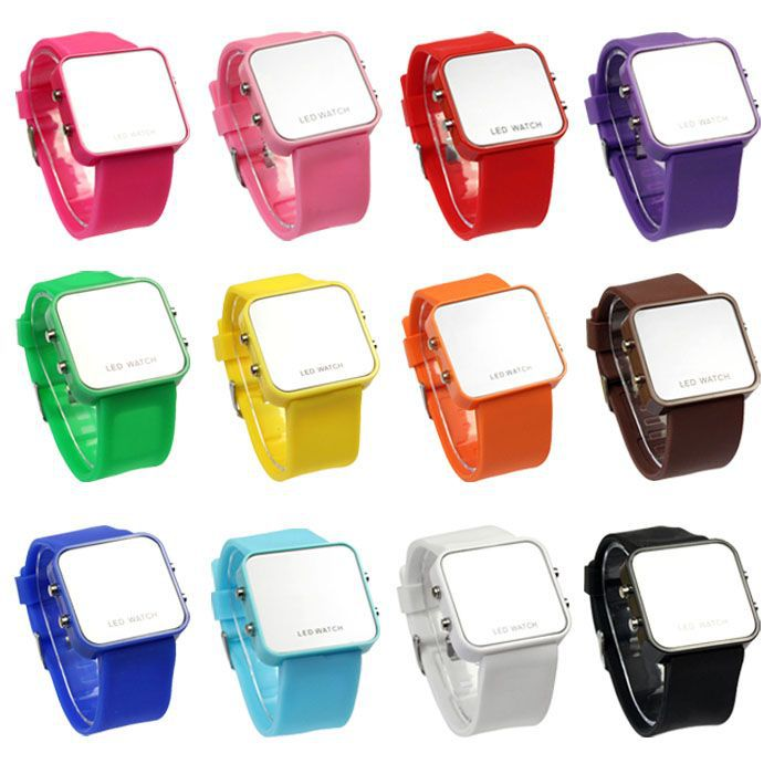 2015 Free Shipping & Wholesale Sport Watch LED Digital Watches Calendar Day/Date Silicone Faceless Men Lady Watch Tonsee(China (Mainland))