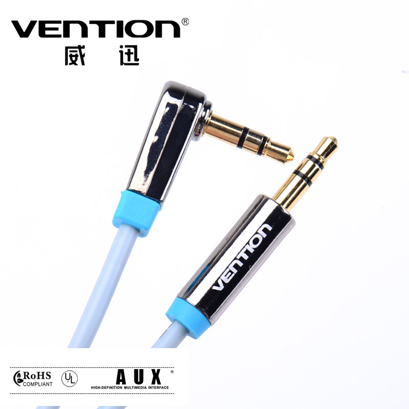 Vention 3.5mm Aux Cable Jack to Jack Gold Plated 90 Degree Right Angle Audio Cable for Car for iphone headphone Ipod Sumsung(China (Mainland))