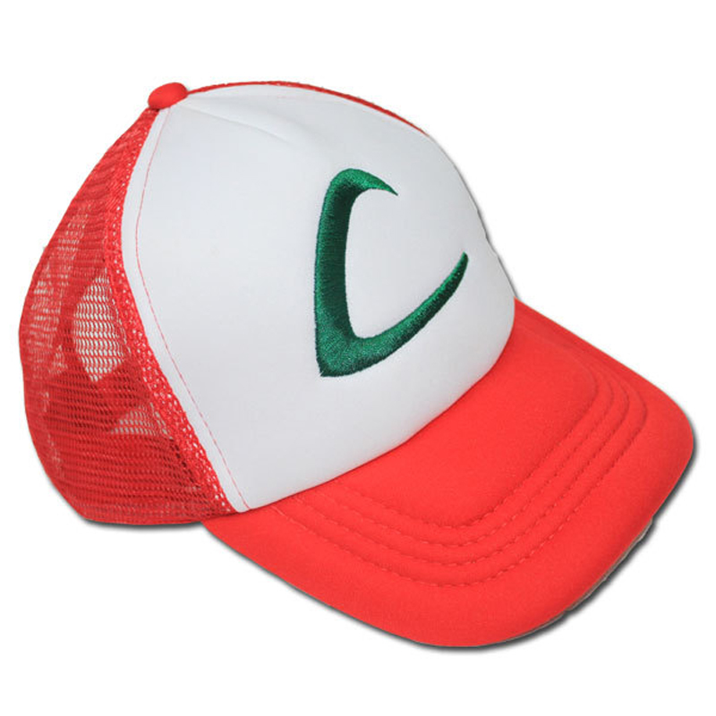 Baseball Caps 2016 Autumn Hotest Fashion Pokemon Caps Word C Hip-Hop Red Basketball Gorras Adjustable Cute Lovely Trainer Cap(China (Mainland))