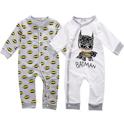 Ребенка ползунки новорожденного девушки мальчик бэтмен комбинезон Playsuit один-шт наряды осень весна хлопка одежды 0 - 18 м