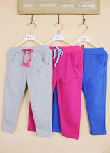 freeshipping!!2014 spring male female child 100% cotton loop pile sports pants casual pants factory price boys and girl clothing(China (Mainland))