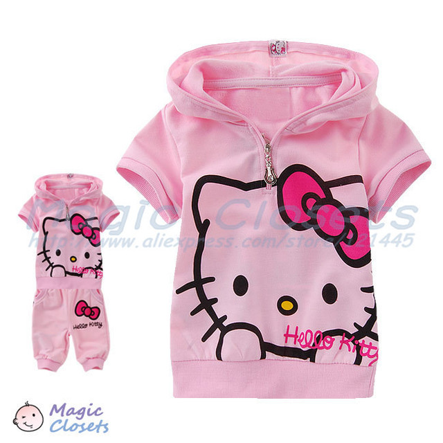 Free shipping,2styles,2013NEW,5pieces/lot,children set,kitty suits, short-sleeved,Hooded sweater,children pant,95-130