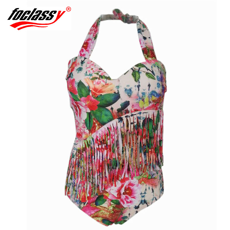 2016 New One Piece Swimsuit Women Plus Size Swimwear Retro Vintage Bathing Suits Beachwear Padded Print Floral Swim Wear(China (Mainland))