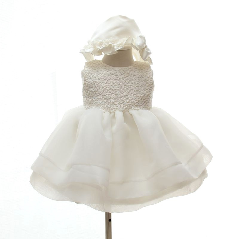 New design fashion Baby girl Christening Gown 1 year old birthday wedding party wear dresses Baby girl handmade tutu frill dress(China (Mainland))
