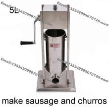Commercial Manual Stainless Steel 5L Hand Crank Vertiacal Sausage Filler Stuffer Churros Maker Machine - Fruit MM Store store