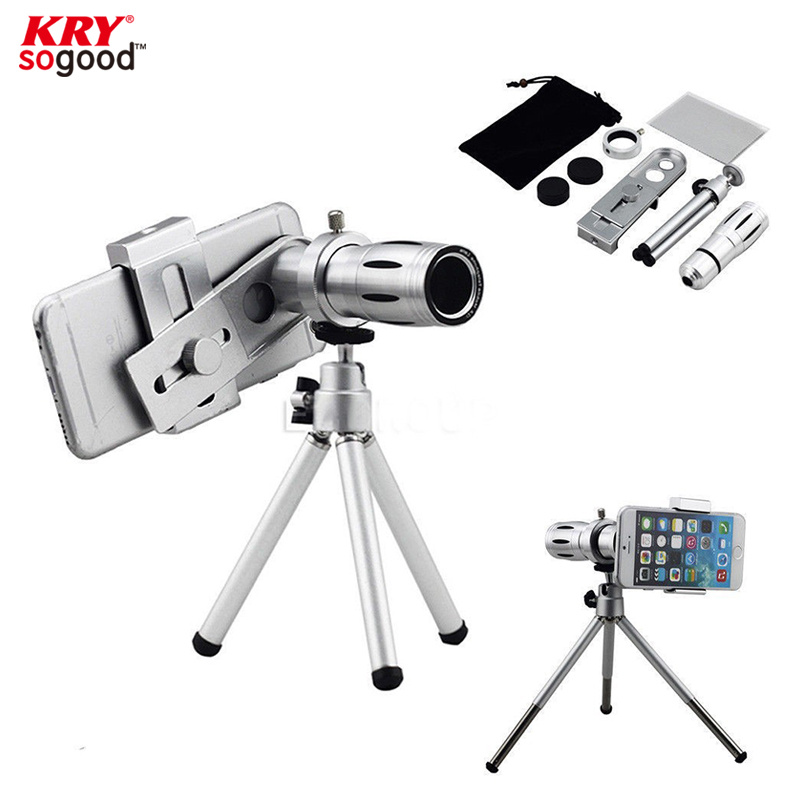 Universal 12X Zoom Camera Telephoto Lens Phone Telescope With Mount Tripod For iPhone 5s 6 Samsung Galaxy S4 S5 Lenovo JT39(China (Mainland))