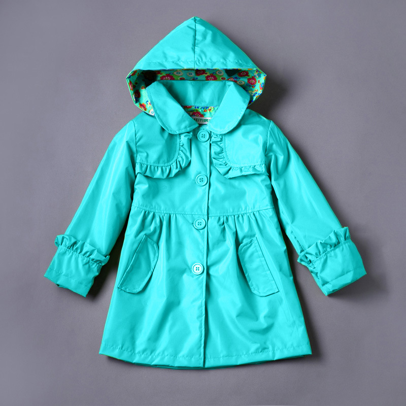 3-7 yrs 2016 New Girls Jackets Flower Trench Outerwear for girls Kids coat fashion hooded spring autumn raincoat retail(China (Mainland))